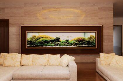 Thiết kế bể thủy sinh âm tường Penthouse Ocean Lê Văn Lương