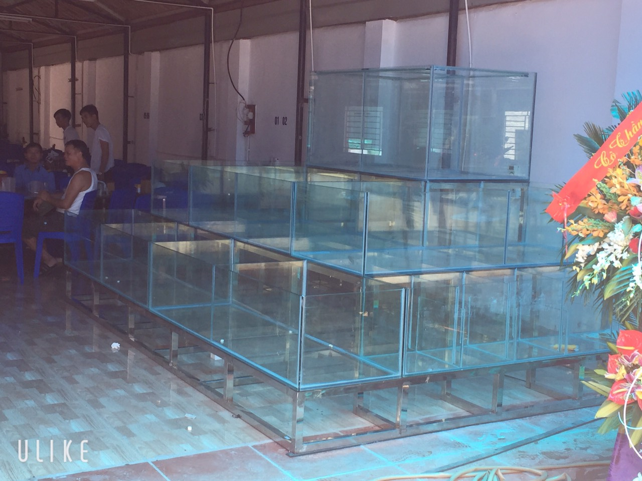 Mẫu Bể Hải Sản 3 Mặt Kính , Kính Trồng Kính 3 Tầng
